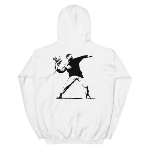 Streetwear Shop, Banksy Flower Thrower Hoodie, breathin banksy